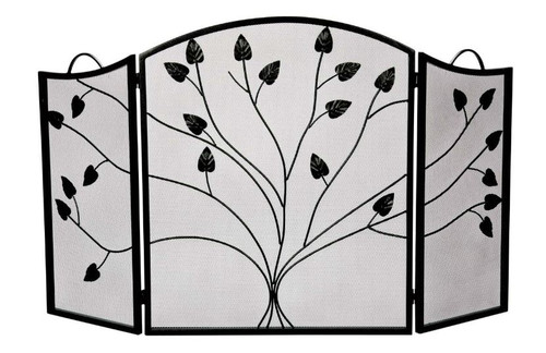Dagan DG-S509BLK Three Fold Black Arched Fireplace Screen, 52x31-Inches