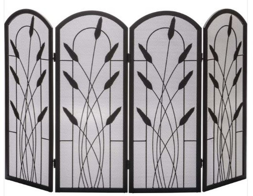 Dagan DG-S171 Four Fold Arched Fireplace Screen with Cotton Tail Design, 48x30-Inches
