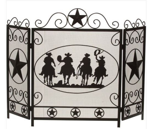 Dagan DG-S166 Three Fold Wrought Iron Fireplace Screen with Cowboy and Star Design, 50.75x34.75-Inche