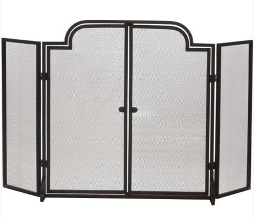 Dagan DG-S147 Three Fold Wrought Iron Arched Fireplace Screen with Doors, 55x32-Inches