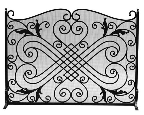 Dagan DG-AHS105 Black Arched Fireplace Screen, 44x33-Inches