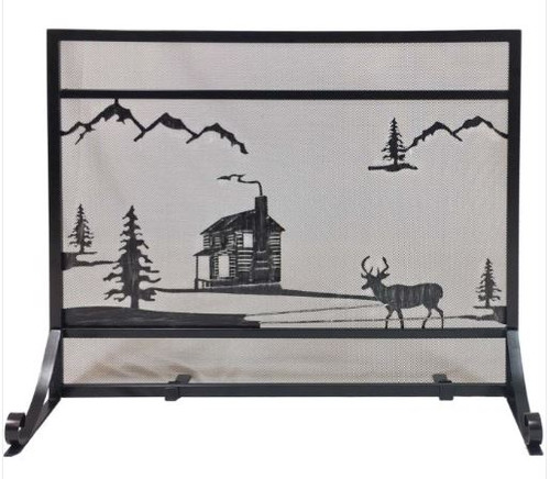 Dagan DG-S175 Wrought Iron Fireplace Screen with Cabin Design, 39x30.5-Inches