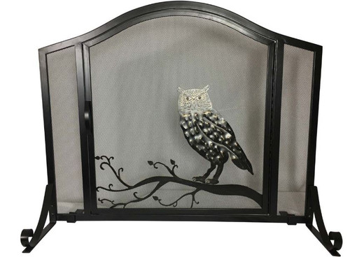 Dagan DG-S151 Wrought Iron Arched Fireplace Screen with Door with Owl Design, 37x31-Inches