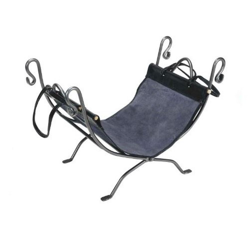 Dagan DG-AHL200 Black Wrought Iron Log Holder and Carrier, 26.75x14-Inches