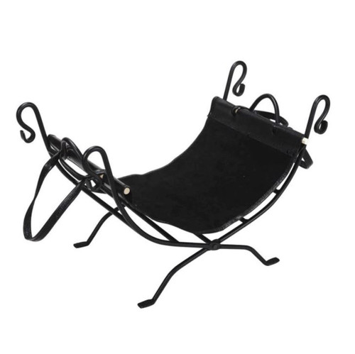 Dagan DG-AHL100 Black Wrought Iron Log Holder and Carrier, 26.75x14-Inches