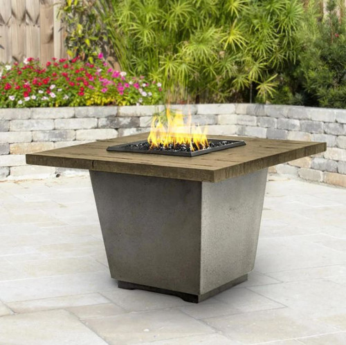 American Fyre Designs Cosmopolitan 36-Inch French Barrel Oak Natural Gas Square Firetable - Black Lava