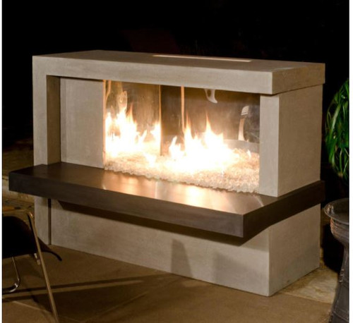 American Fyre Designs Manhattan 59-Inch Outdoor Natural Gas Fireplace - Cafe Blanco
