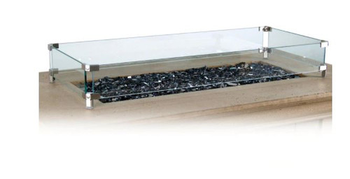 American Fyre Designs Glass Wind Guard For Rectangular Fire Tables