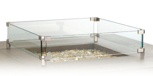American Fyre Designs Glass Wind Guard For Square Fire Tables