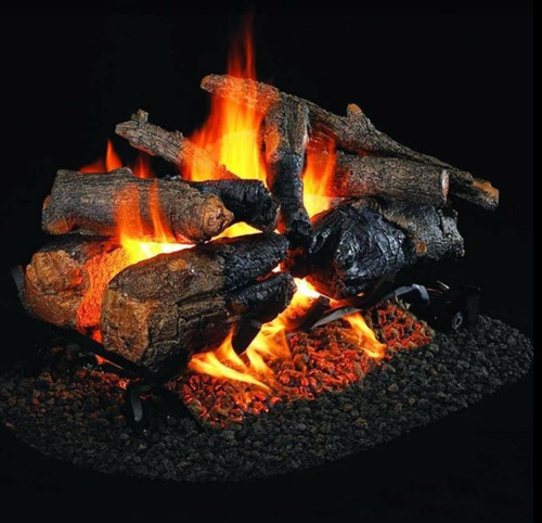Peterson Real Fyre 18-Inch Charred American Oak See-Thru Gas Log Set With Vented Natural Gas G45 Burner - Match Light