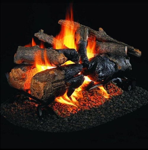 Peterson Real Fyre 30-Inch Charred Amrican Oak See-Thru Gas Log Set With Vented Natural Gas G45 Burner - Match Light