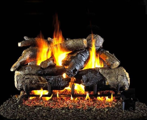 Peterson Real Fyre 18-Inch Charred American Oak Gas Log Set With Vented Natural Gas G4 Burner - Match Light