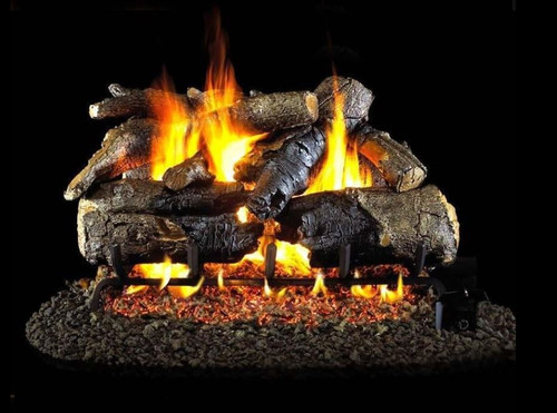 Peterson Real Fyre 24-Inch Charred American Oak Gas Log Set With Vented Natural Gas G4 Burner - Match Light
