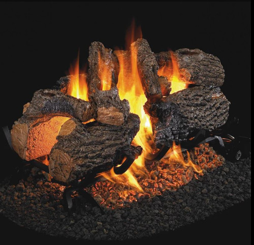 Peterson Real Fyre 30-Inch Charred Oak See-Thru Gas Log Set With Vented Natural Gas G45 Burner - Match Light