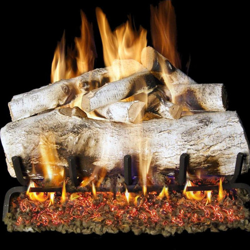 Peterson Real Fyre 24-Inch White Mountain Birch Gas Log Set With Vented Natural Gas G4 Burner - Match Light