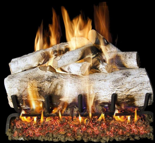 Peterson Real Fyre 30-Inch White Mountain Birch Gas Log Set With Vented Natural Gas G4 Burner - Match Light