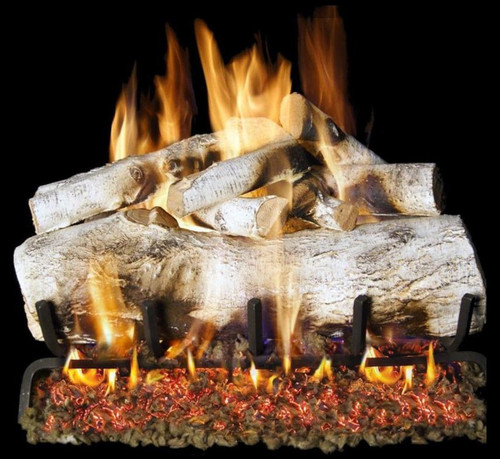 Peterson Real Fyre 30-Inch White Mountain Birch See-Thru Gas Log Set With Vented Natural Gas G45 Burner - Match Light