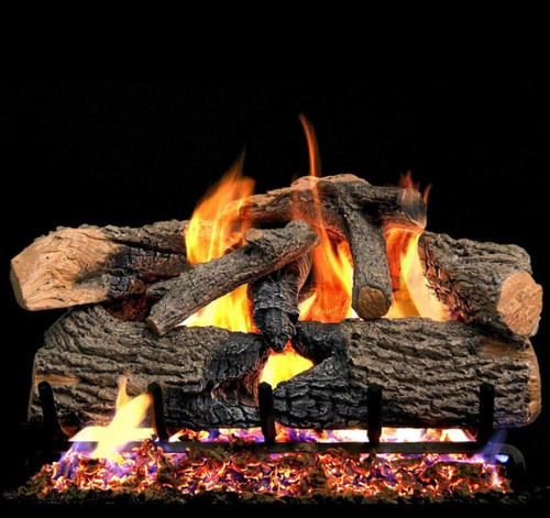 Peterson Real Fyre 18-Inch Charred Evergreen Oak Gas Log Set With Vented Natural Gas G52 Burner - Match Light
