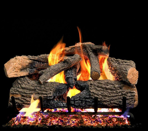 Peterson Real Fyre 30-Inch Charred Evergreen Oak Gas Log Set With Vented Natural Gas G52 Burner - Match Light