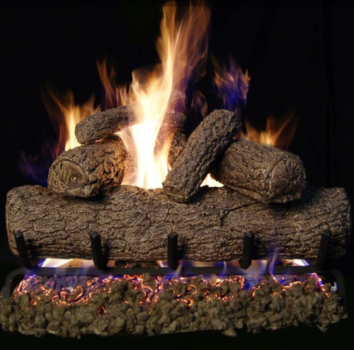 Peterson Real Fyre 30-Inch Southern Oak Gas Log Set With Vented Natural Gas G4 Burner - Match Light