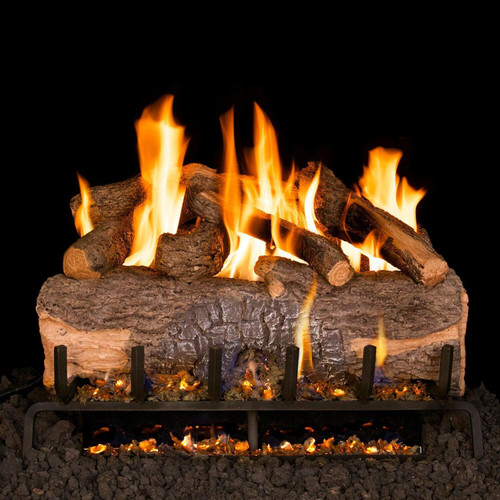 Peterson Real Fyre 18-Inch Mountain Crest Oak Gas Log Set With Vented G31 Three-Tiered Natural Gas Burner - Match Light