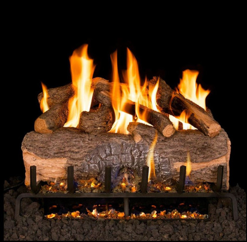 Peterson Real Fyre 24-Inch Mountain Crest Oak Gas Log Set With Vented G31 Three-Tiered Natural Gas Burner - Match Light