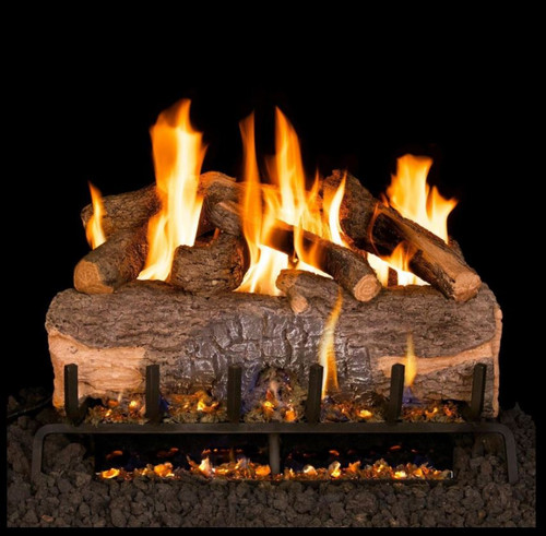 Peterson Real Fyre 39-Inch Mountain Crest Oak Gas Log Set With Vented G31 Three-Tiered Natural Gas Burner - Match Light