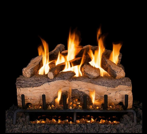 Peterson Real Fyre 39-Inch Mountain Crest Split Oak Gas Log Set With Vented G31 Three-Tiered Natural Gas Burner - Match Light
