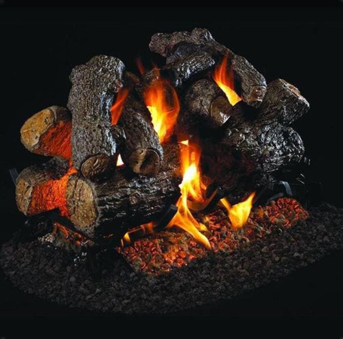 Peterson Real Fyre 30-Inch Charred Royal English Oak Outdoor See-Thru Gas Log Set With Vented Natural Gas Stainless G45 Burner