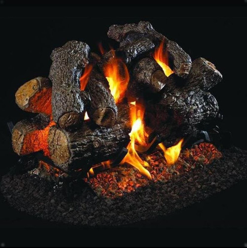 Peterson Real Fyre 36-Inch Charred Royal English Oak Outdoor See-Thru Gas Log Set With Vented Natural Gas Stainless G45 Burner - Match Light