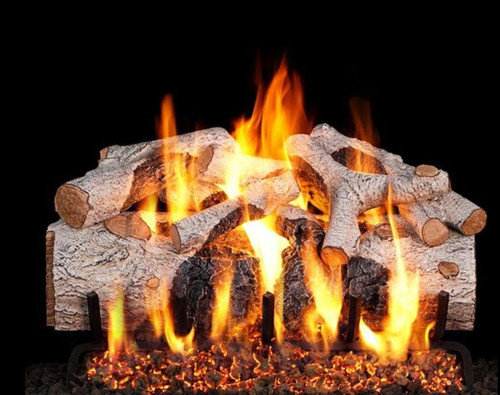 Peterson Real Fyre 18-Inch Charred Mountain Birch Gas Log Set With Vented Natural Gas G4 Burner - Match Light