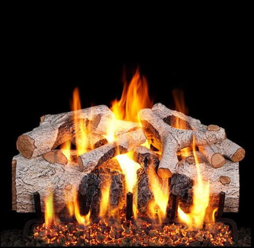 Peterson Real Fyre 30-Inch Charred Mountain Birch Gas Log Set With Vented Natural Gas G4 Burner - Match Light