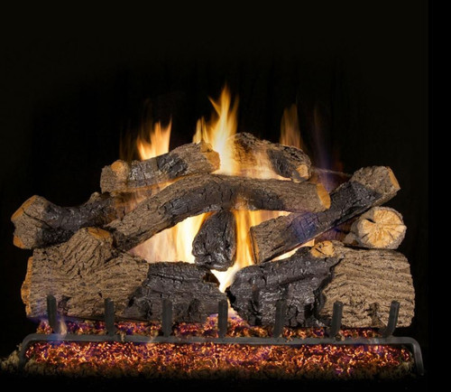 Peterson Real Fyre 30-Inch Charred Grizzly Oak Gas Log Set With Vented Natural Gas G4 Burner - Match Light