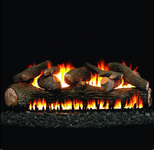 Peterson Real Fyre 36-Inch Mammoth Pine See-Thru Gas Log Set With Vented Natural Gas EPIC Burner - Match Light