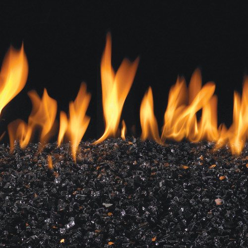 Peterson Real Fyre 30-Inch Black Fire Glass Set With Vented Natural Gas G45 Burner - Match Light