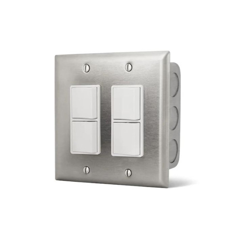 Infratech 240V Flush Mount In-Wall Dual Stacked Duplex Switch - 14-4305