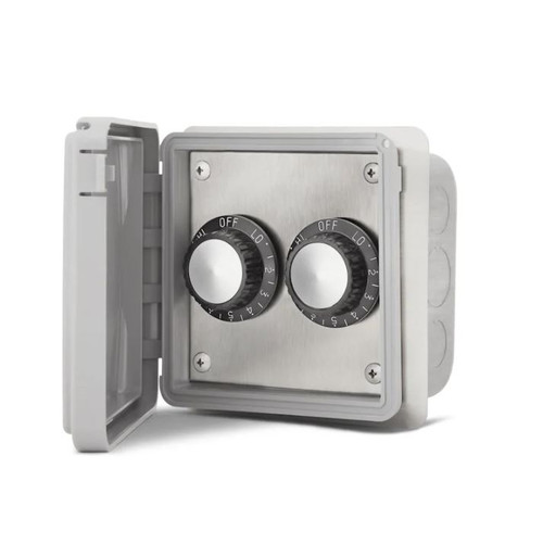 Infratech 240V Double Input Regulators Stainless Steel Flush Mount Plate With Deep Gang Box And Waterproof Cover - 14-4215
