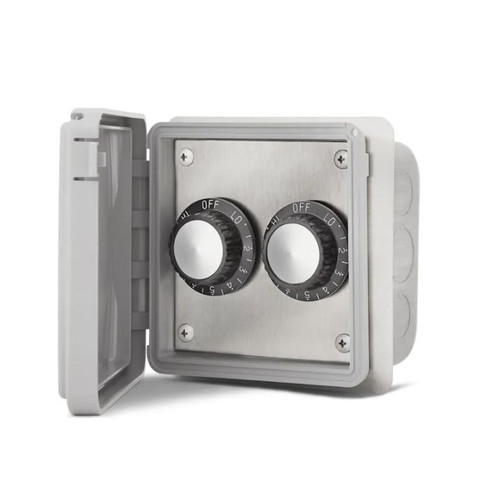 Infratech 120V Double Input Regulator Stainless Steel Flush Mount Plate With Deep Gang Box And Waterproof Cover - 14-4115
