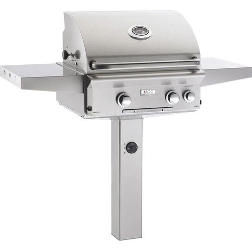 American Outdoor Grill L-Series 24-Inch 2-Burner Natural Gas Grill On In-Ground Post With Rotisserie - 24NGL