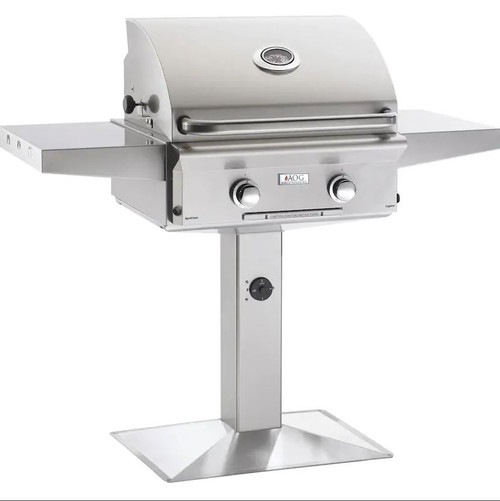 American Outdoor Grill L-Series 24-Inch 2-Burner Natural Gas Grill On Pedestal - 24NPL-00SP
