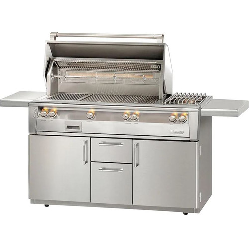Alfresco ALXE 56-Inch Natural Gas Deluxe Grill With Sear Zone, Rotisserie, And Side Burner - ALXE-56SZC-NG