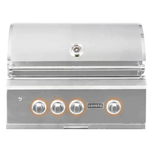 Coyote S-Series 30-Inch 3-Burner Built-In Natural Gas Grill With RapidSear Infrared Burner & Rotisserie - C2SL30NG