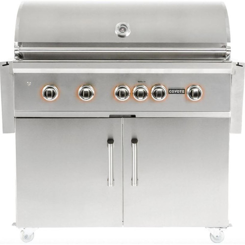 Coyote S-Series 42-Inch 5-Burner Natural Gas Grill With RapidSear Infrared Burner & Rotisserie - C2SL42NG + C1S42CT