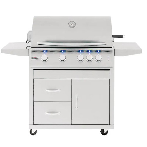 Summerset Sizzler Pro 32-Inch 4-Burner Propane Gas Grill With Rear Infrared Burner - SIZPRO32-LP