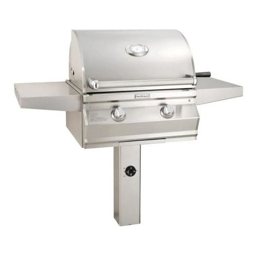 Fire Magic Choice Multi-User Accessible CMA430S 24-Inch Propane Gas Grill With Analog Thermometer On In-Ground Post - CMA430S-RT1P-G6