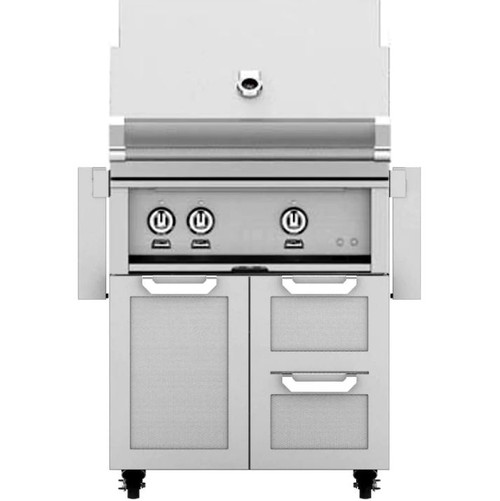 Hestan 30-Inch Propane Gas Grill W/ Rotisserie On Double Drawer & Door Tower Cart - Steeletto - GABR30-LP-SS