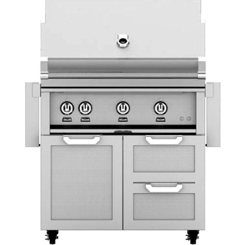 Hestan 36-Inch Propane Gas Grill W/ Rotisserie On Double Drawer & Door Tower Cart - Steeletto - GABR36-LP-SS