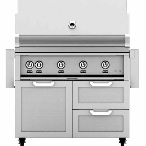 Hestan 42-Inch Natural Gas Grill W/ Rotisserie On Double Drawer & Door Tower Cart - Steeletto - GABR42-NG-SS