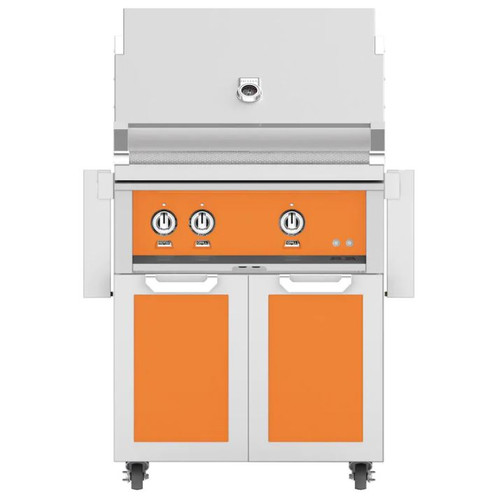 Hestan 30-Inch Natural Gas Grill W/ Rotisserie On Double Door Tower Cart - Citra - GABR30-NG-OR