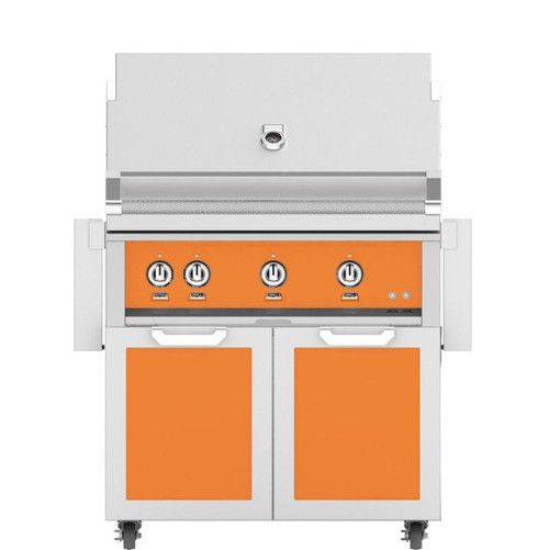 Hestan 36-Inch Natural Gas Grill W/ Rotisserie On Double Door Tower Cart - Citra - GABR36-NG-OR
